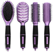 Salon Professional, 4-teiliges Haarbürsten Set - Violett