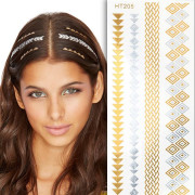 Flash Hair Tattoo - Silber und Gold HT205