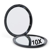Compact Double-Sided Mirror with 10x Magnification - Black