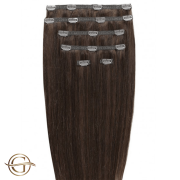 Clip on hair extensions #4 Chocolate Brown - 7 pieces - 50 cm | Gold24