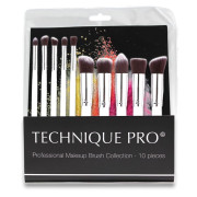 Technique PRO® Makeup Brushes, Silver edition - 10 pcs